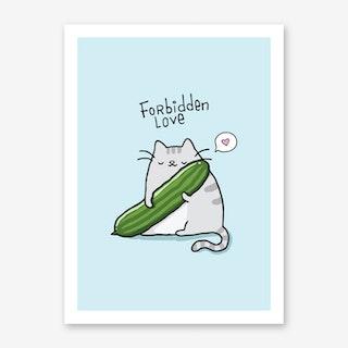 Cat Cucumber Art Print
