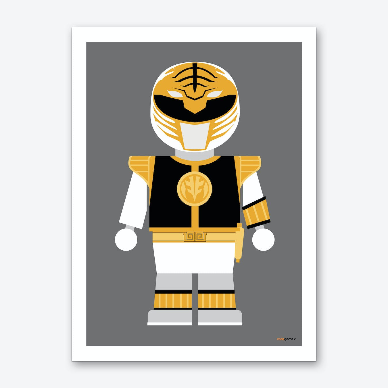 Toy Power Ranger White  Art Print