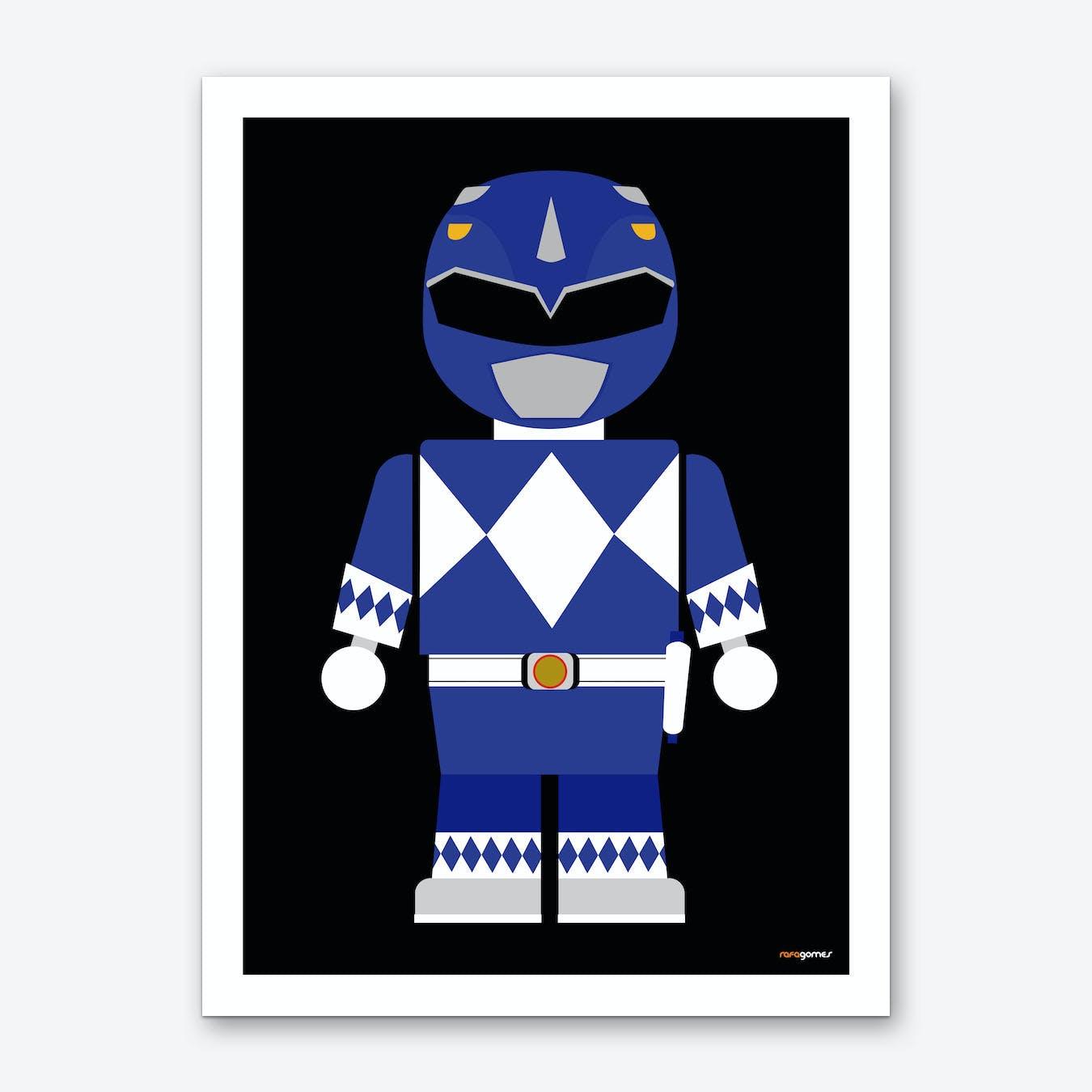Toy Power Ranger Blue   Art Print