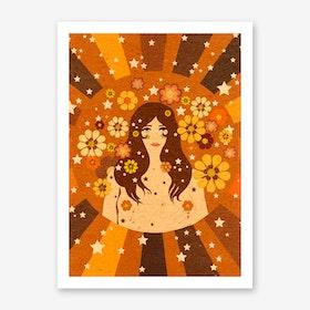Flower Girl Power Girl Art Print