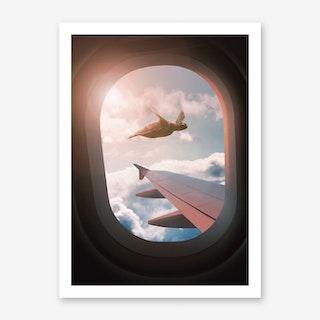 Flying Sea Turtle Art Print