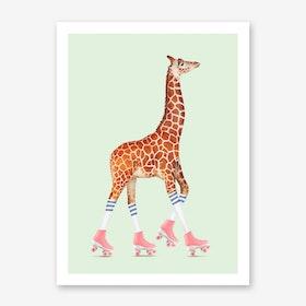 Rollerskating Giraffe Art Print