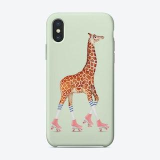 Rollerskating Giraffe  iPhone Case