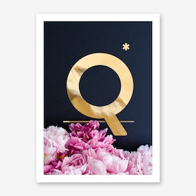 Flower Alphabet Q Art Print