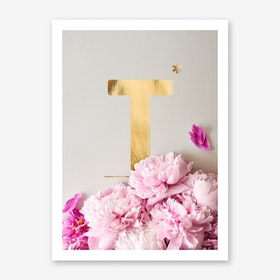 Flower Alphabet T Art Print