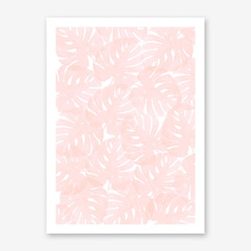 Monstera Peach Blossom Art Print