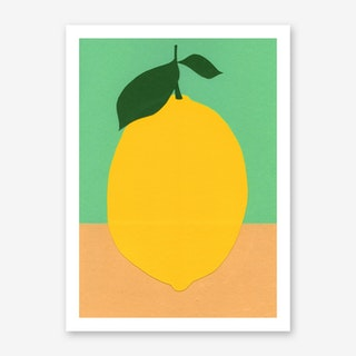 Lemon With Two Leaves Art Print