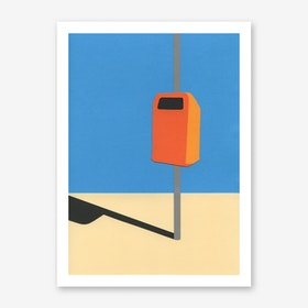 Orange Trash Can Art Print