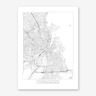 Copenhagen Map Minimal Art Print