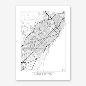 Barcelona Map Minimal Art Print