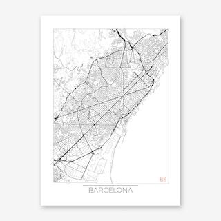 Barcelona Map Minimal Art Print