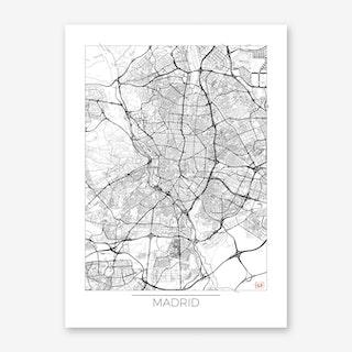 Madrid Map Minimal Art Print