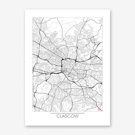 Glasgow Map Minimal Art Print