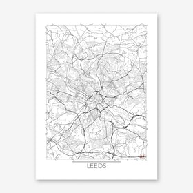 Leeds Map Minimal Art Print