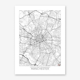 Manchester Map Minimal Art Print