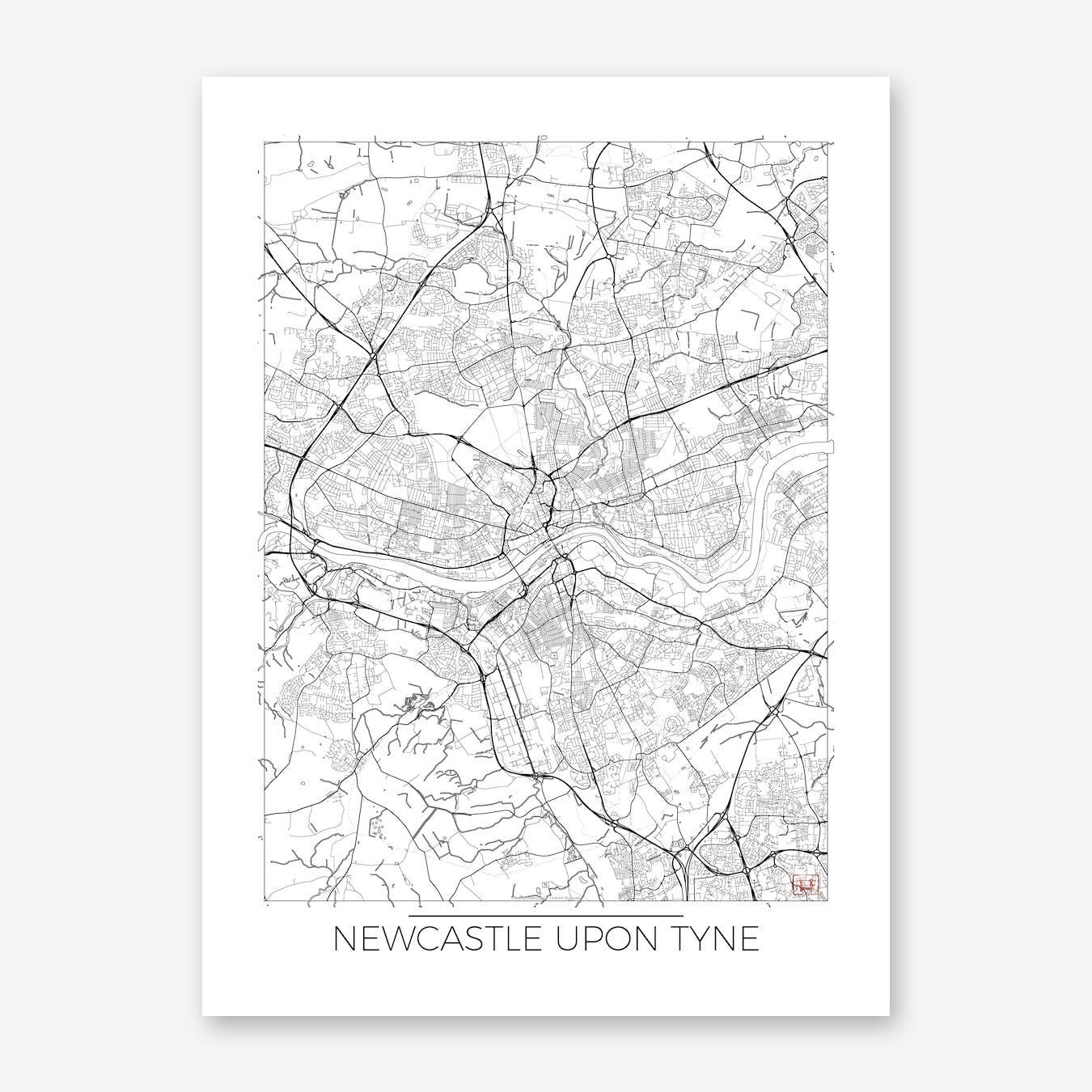 Newcastle Upon Tyne Map Minimal