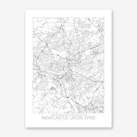 Newcastle Upon Tyne Map Minimal Art Print