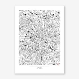Paris Map Minimal Art Print