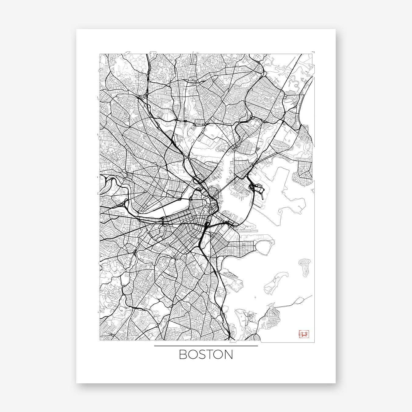 Boston Map Minimal Wall Art Print Free Shipping Fy