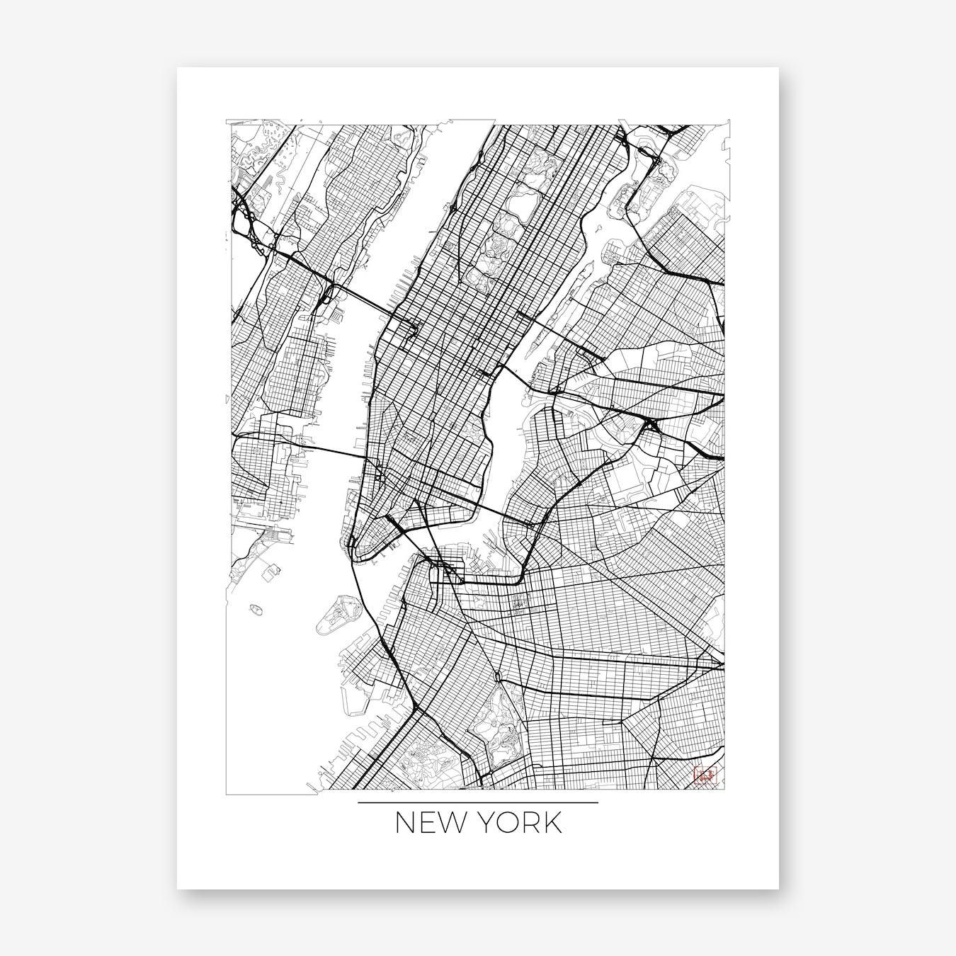 photo relating to Printable Map of New York State called Contemporary York Map Low Artwork Print