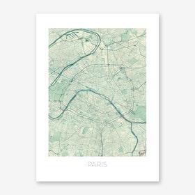 Paris Map Vintage in Blue Art Print