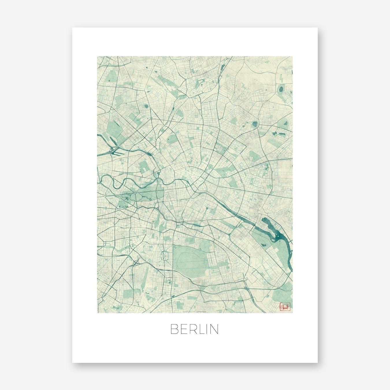 Berlin Map Vintage in Blue