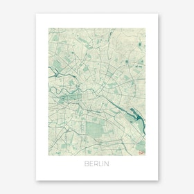 Berlin Map Vintage in Blue Art Print