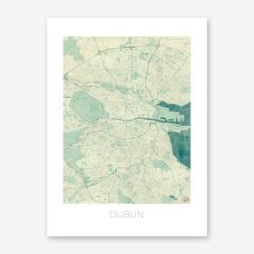 Dublin Map Vintage in Blue Art Print