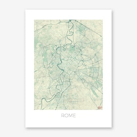 Rome Map Vintage in Blue