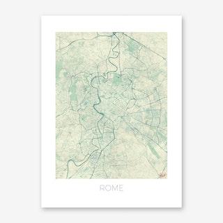 Rome Map Vintage in Blue Art Print