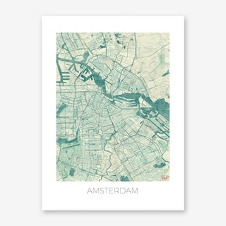 Amsterdam Map Vintage in Blue Art Print