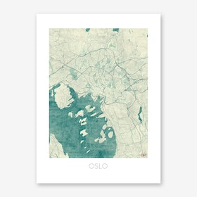 Oslo Map Vintage in Blue