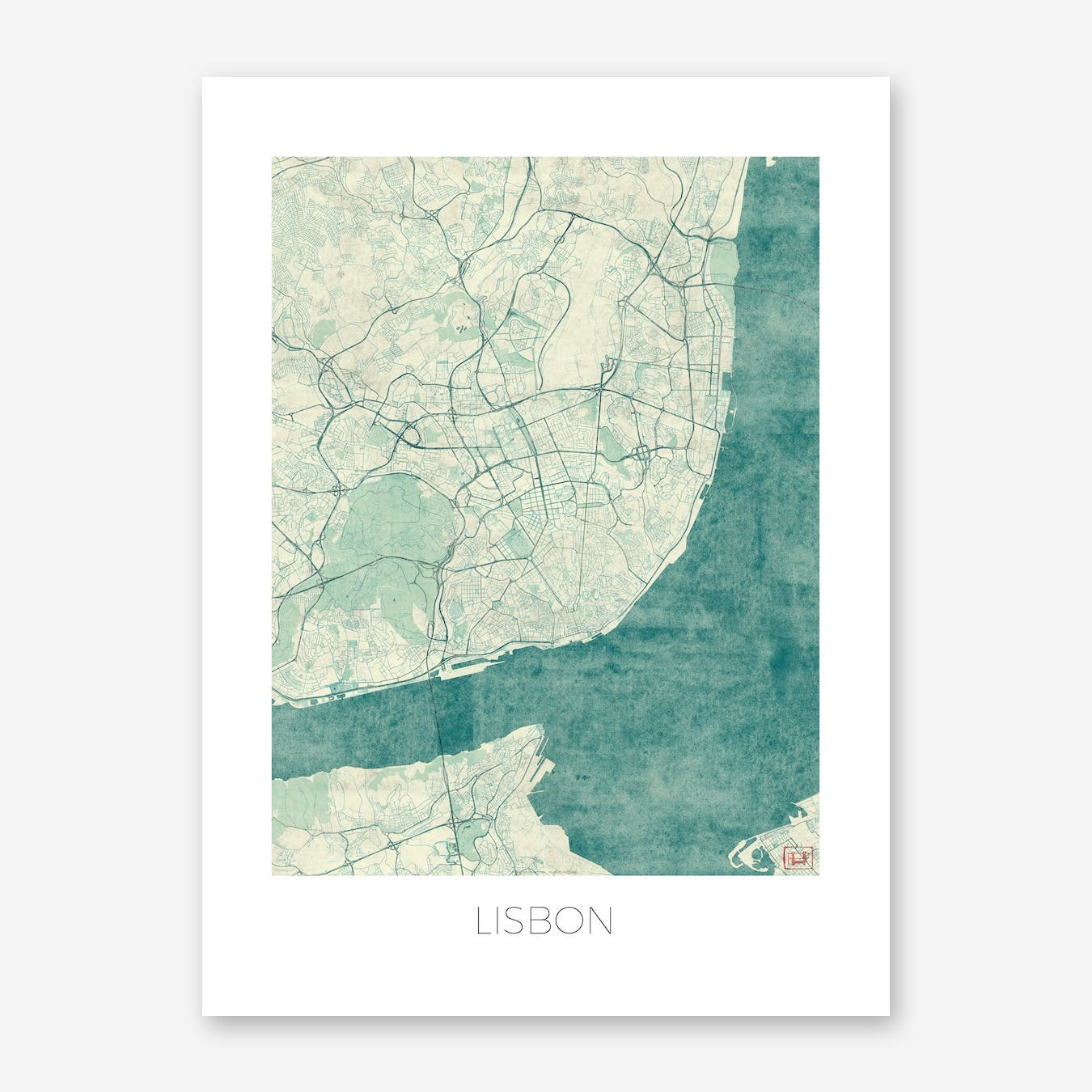 Lisbon Map Vintage in Blue