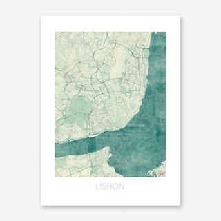 Lisbon Map Vintage in Blue Art Print