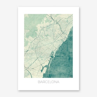 Barcelona Map Vintage in Blue Art Print