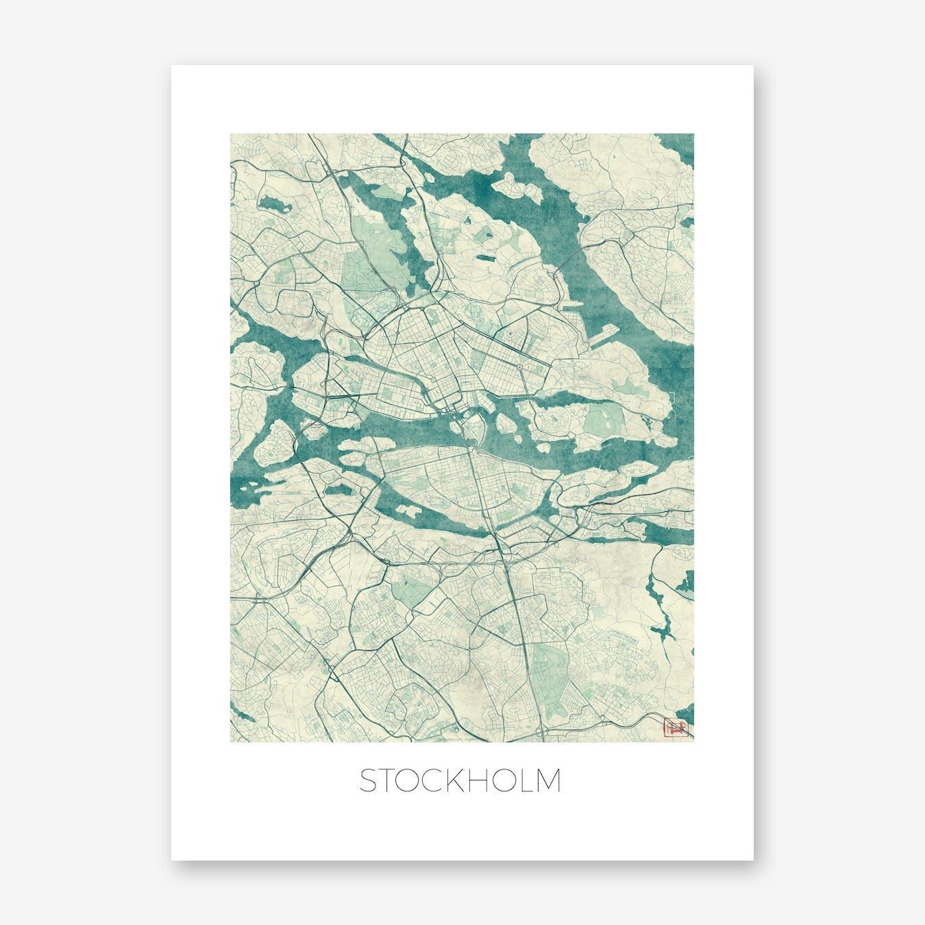 Stockholm Map Vintage in Blue