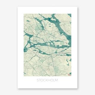 Stockholm Map Vintage in Blue Art Print
