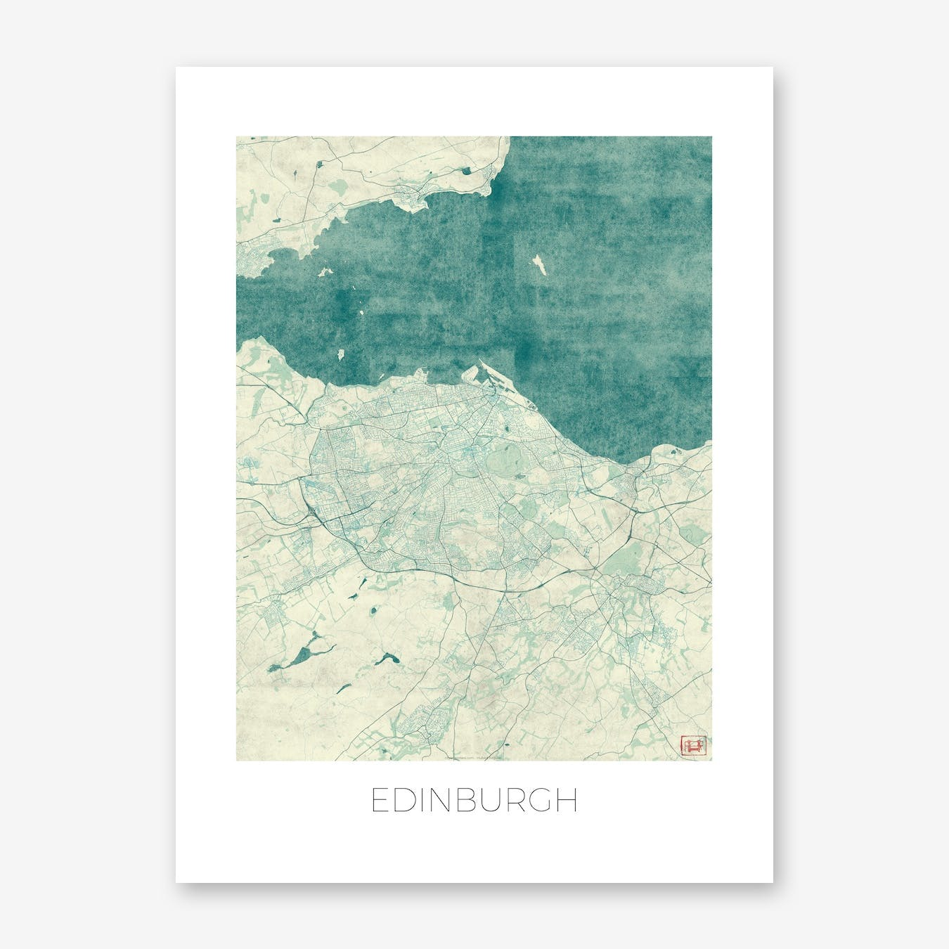 Edinburgh Map Vintage in Blue
