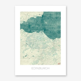 Edinburgh Map Vintage in Blue Art Print