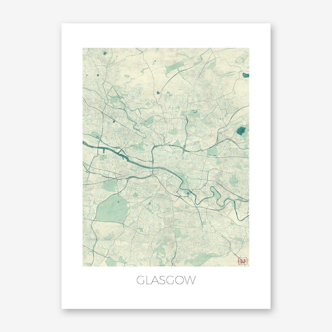 Glasgow Map Vintage in Blue
