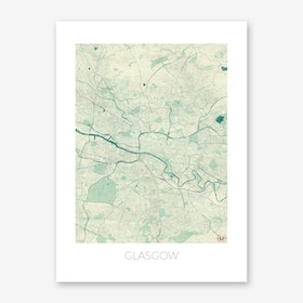 Glasgow Map Vintage in Blue