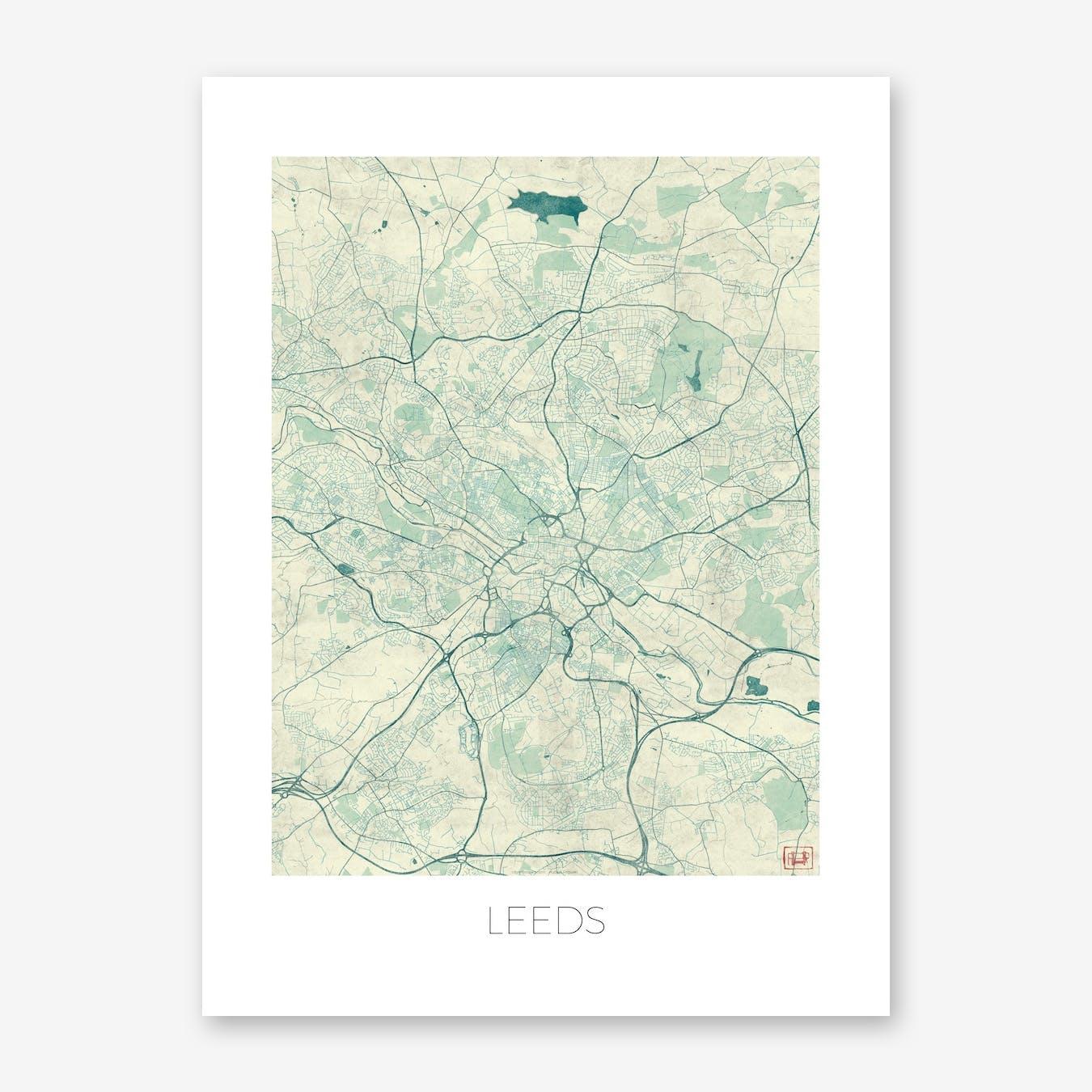 Leeds Map Vintage in Blue