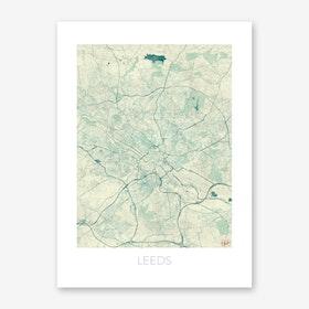Leeds Map Vintage in Blue Art Print