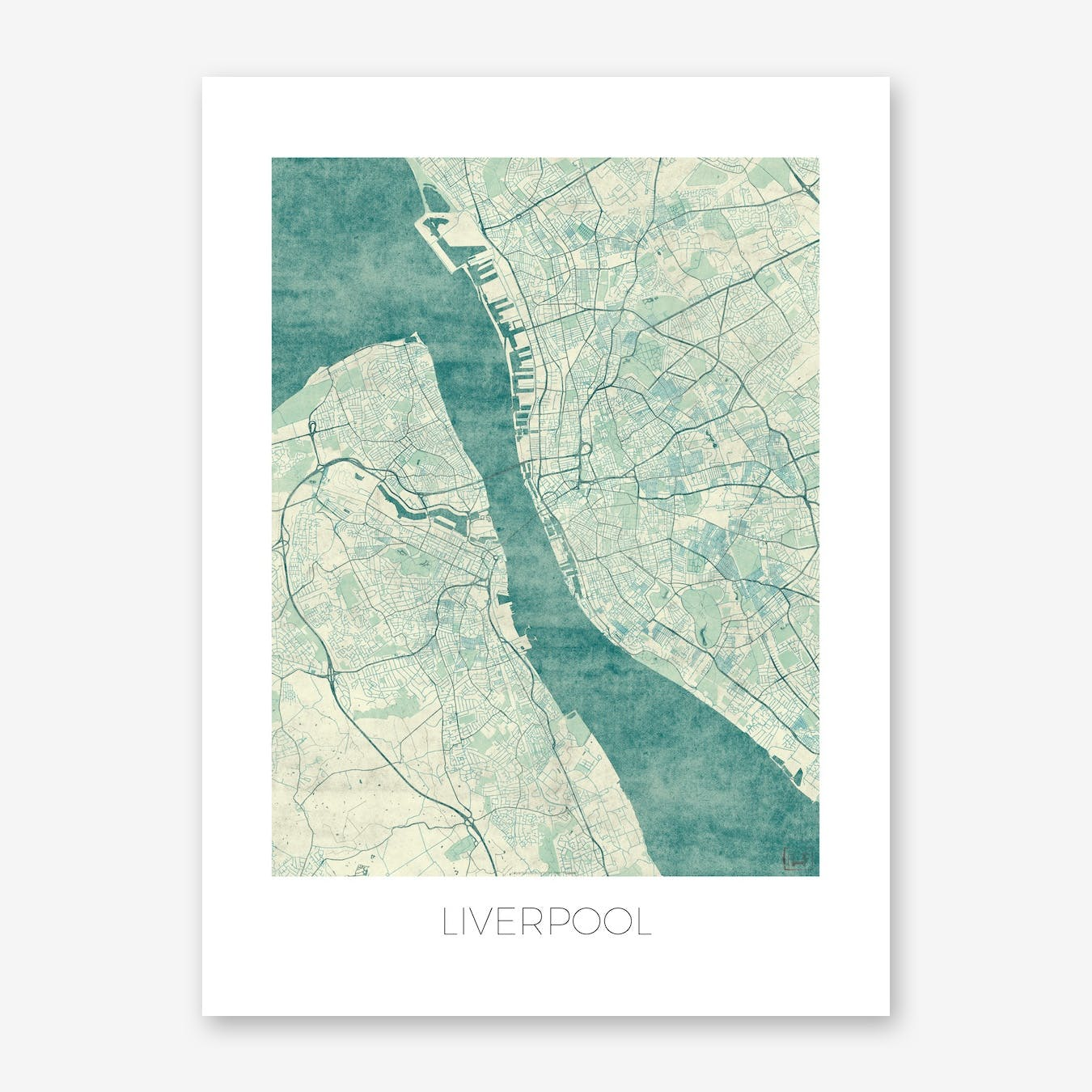 Liverpool Map Vintage in Blue