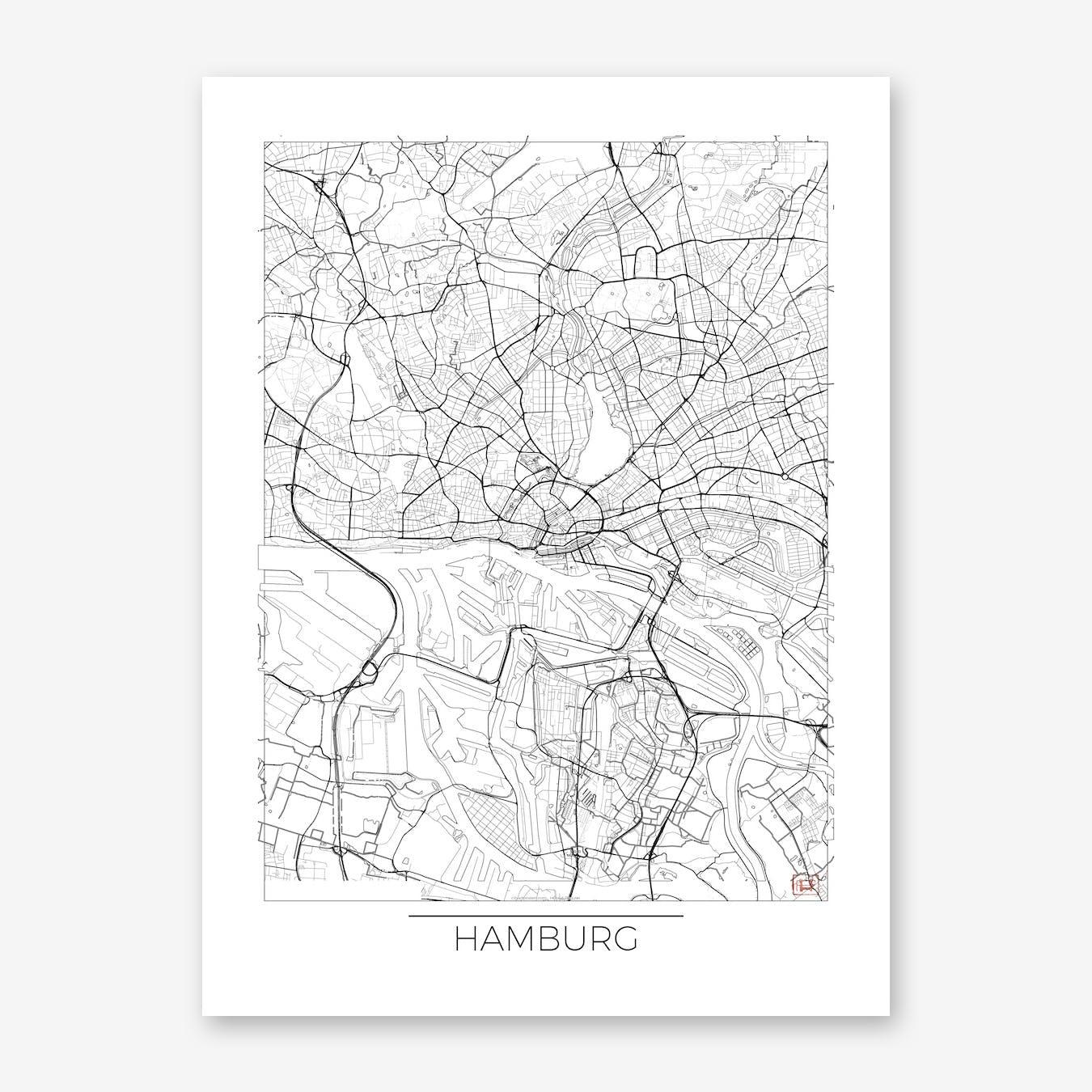 Hamburg Map Minimal