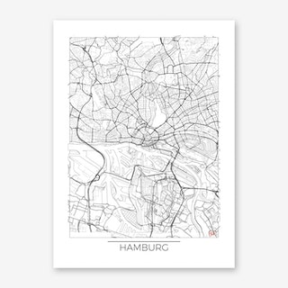 Hamburg Map Minimal Art Print