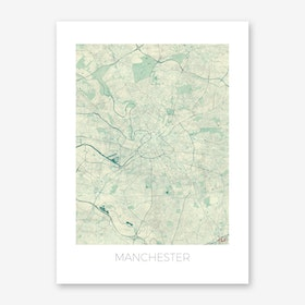 Manchester Map Vintage in Blue Art Print