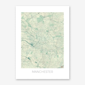 Manchester Map Vintage in Blue