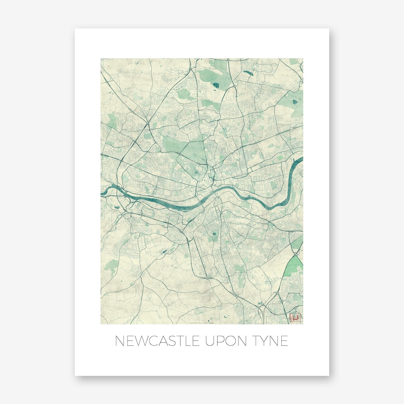 Newcastle Upon Tyne Map Vintage in Blue