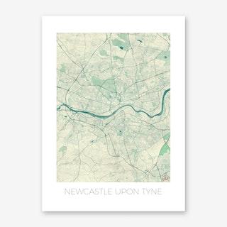 Newcastle Upon Tyne Map Vintage in Blue Art Print
